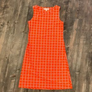 Jude Connally Orange Windowpane Dress